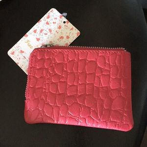 Free people crocodile hot pink zip around wallet